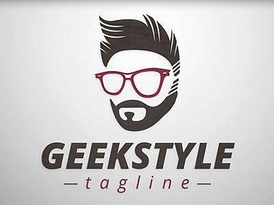 Geek Style Logo geek boy man human people social hair glasses beard freak style face