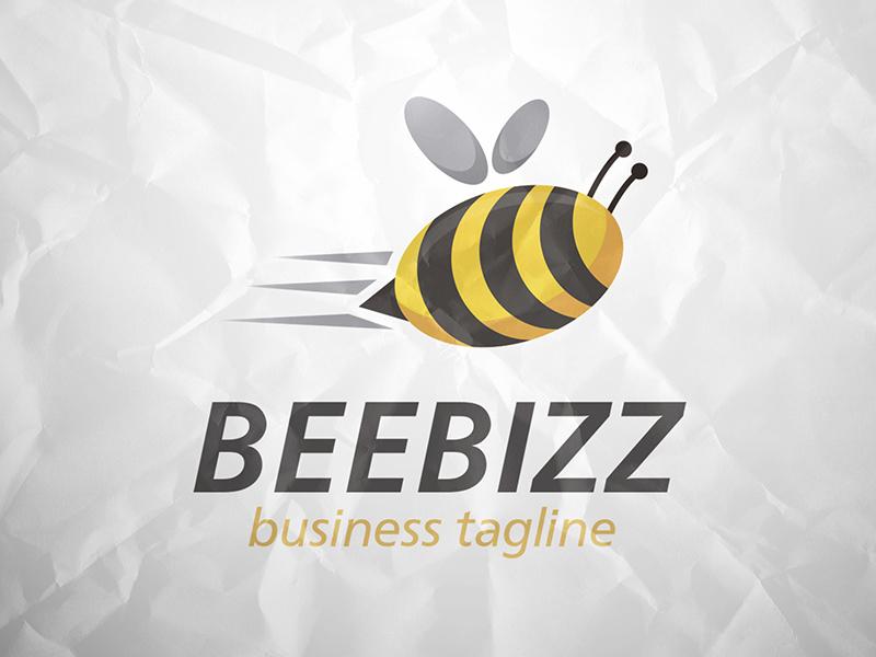 Bee Logo bee honey hive media multimedia marketing speed fly travel creative studio social