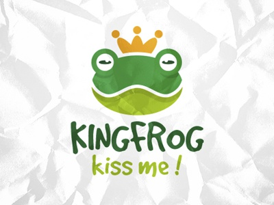Frog King Logo toys brand kindergarten kids social creative studio illustrative logo mascot eyes toad crown king frog