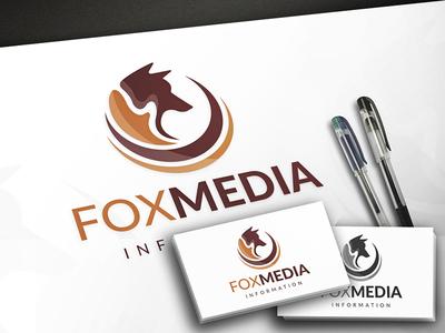 Fox Media Logo hosting network social music video share global marketing multimedia media fox tail fox