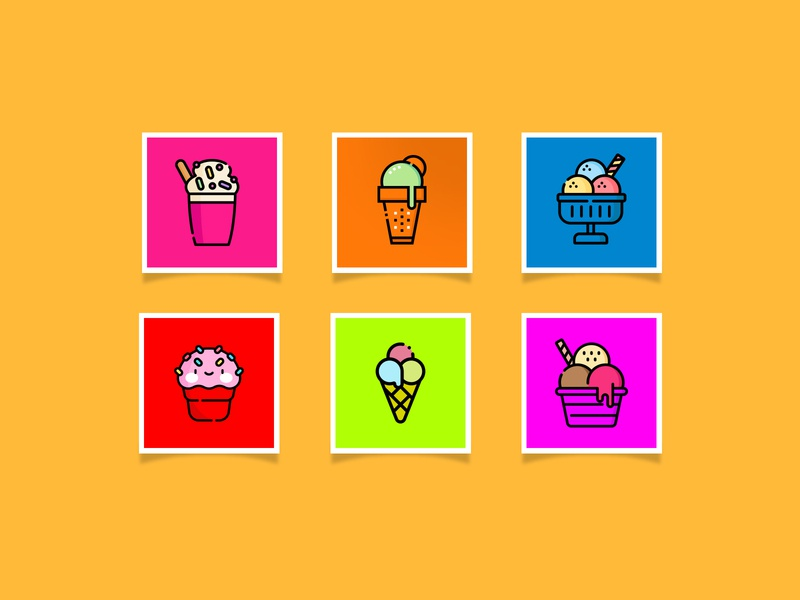 ice cream icon set (Neon color)