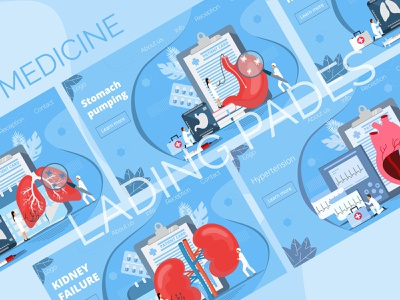Medicine Bundle 02 ux ui vector hypertension heart kidney stomach lungs medicine landing page