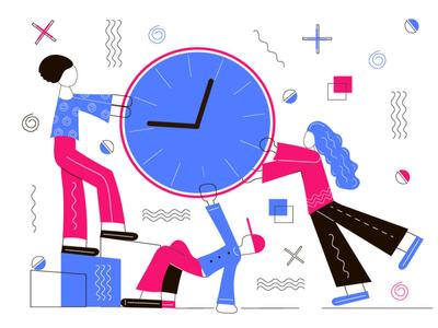 Deadline simple vector memphis style clock gob creative team deadlines time management