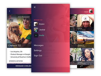 Dating App gradients browse photo grids app ios menu profiles dating