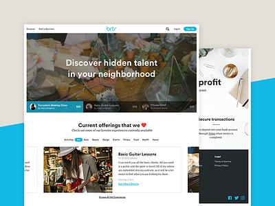 Homepage redesign neighborhood marketing tabs trading barter homepage slider