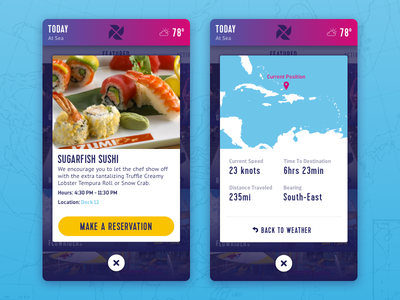 Detail Cards modal popup sushi pin reservations weather map cards app ios