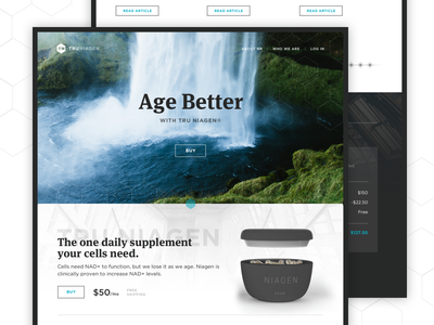 Age Better packaging timeline checkout product page marketing site hexagon waterfall large text supplements border landing page