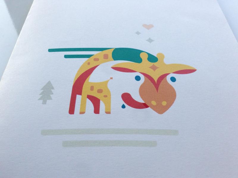 Giraffe valentine card print gift giraffe illustration heart snow winter