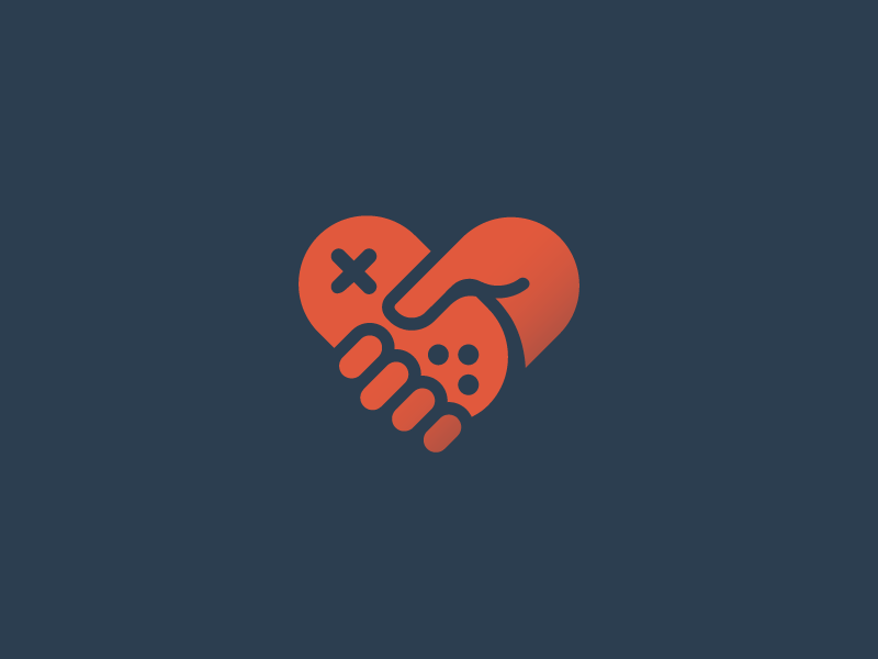Love the game icon logo hold finger love heart play game gamepad controller joystick hand
