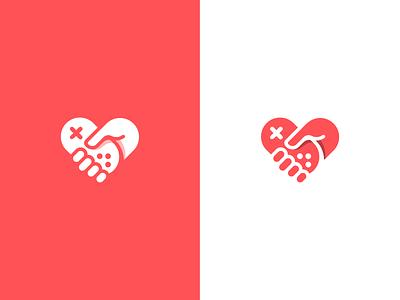 Plonga logo hold icon logo finger hand game play love heart joystick gamepad controller