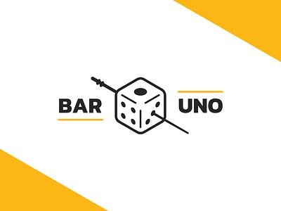 Bar #1 icon yellow logo uno one liquor drink alcohol bar toothpick olive dice