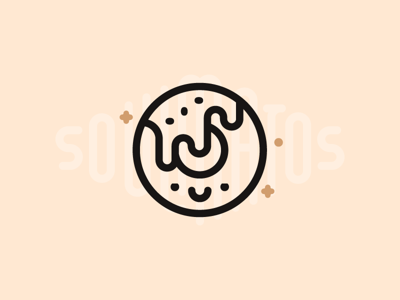 Donut  illustration roll star soulmatos soulmate smile outline icon food sweet doughnut donut
