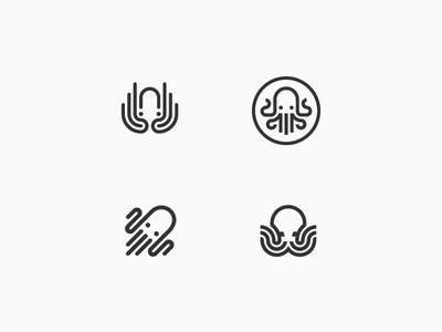 Octo mark octopus animal squid tentacle swim multitask line simple logo icon
