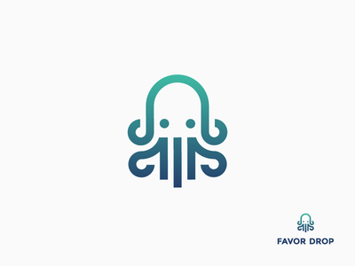 Favor Drop tentacle line icon gradient logo animal multitask quick delivery squid octopus