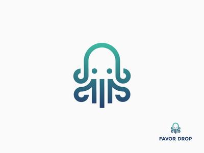 Favor Drop tentacle line icon gradient logo animal multitask quick delivery squid octopus