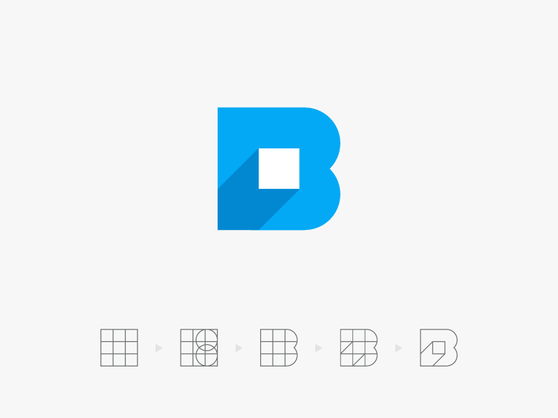 B pixel logo blue guideline grid icon logo shadow square 3d letter pixel b