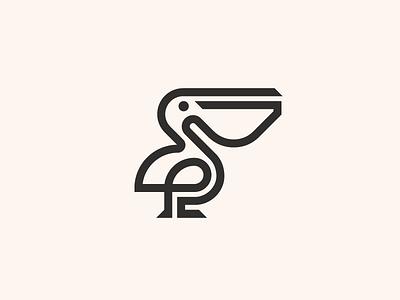Pelican timeless simple smart minimal mark symbol icon logo line animal bird pelican