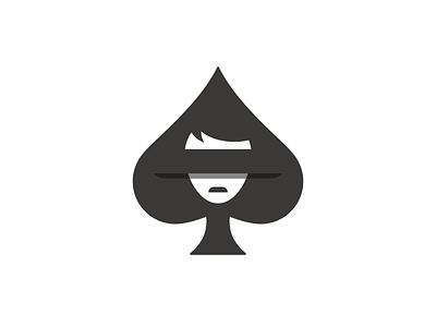 Addiction icon sad logo spade risk gambling gamble face card blind aware addict