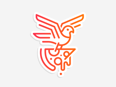 Pizza delivery! wing line illustration logo gradient sticker cheese slice bird pigeon delivery pizza