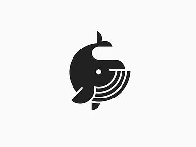 Whale black circle icon symbol design logo animal fish whale