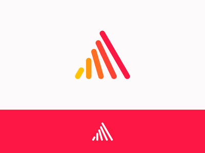 A learn symbol icon logo triangle red color transform evolve grow letter a