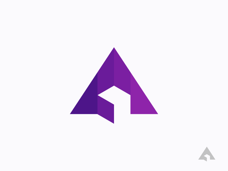 A 3D purple symbol icon logo space negative geometry triangle cube 3d letter a