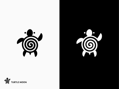 Turtle spin spiral symbol icon logo animal therapy moon turtle