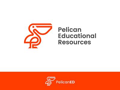 Pelican ED vector outline mark symbol icon design line logo resource education animal bird pelican