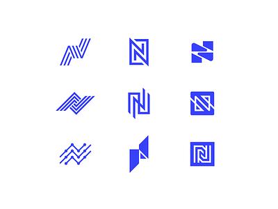 N monogram typography blue icon mark symbol logo letter node n
