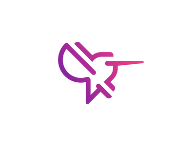 Hummingbird vector minimal simple gradient line icon symbol mark logo animal bird colibri hummingbird