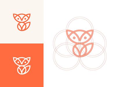 Fox icon symbol mark logo guideline guide grid circle line orange animal fox