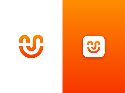 U / Smile letter u smiley smile face happy logo icon mark symbol gradient