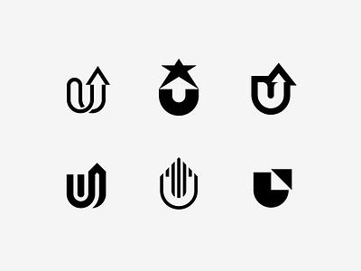 U mark icon symbol logo line star space negative up arrow letter u