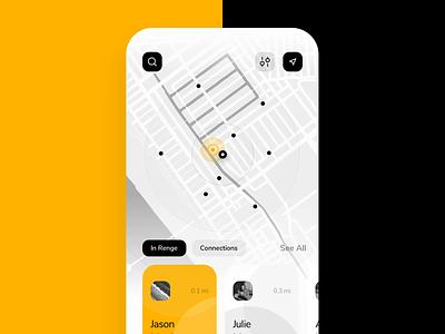 Renge - Interaction connect people icons map app explore mobile app design app design app mobile android ios uxui animation design minimal motion ux ui