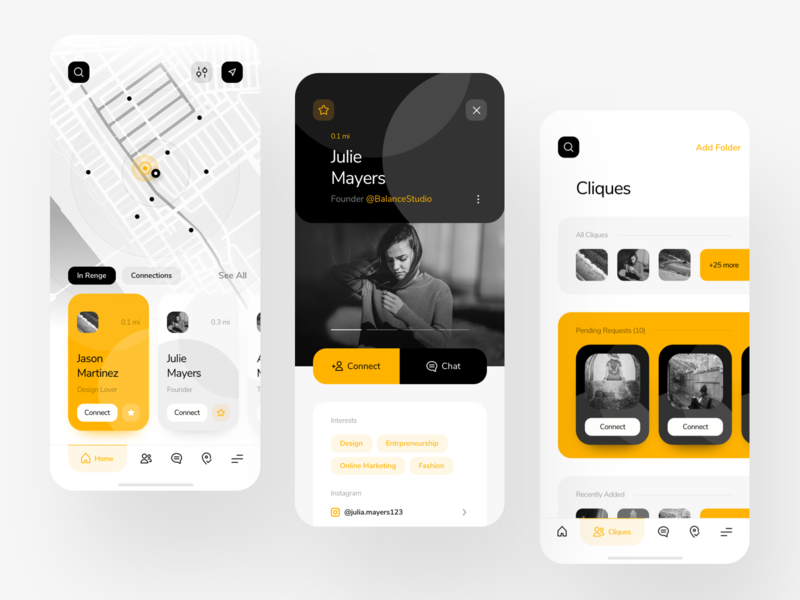 Renge - Other Screens design animation ios android mobile app design explore map app connect minimal map mobile app design mobile app app uiux ux ui
