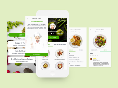Recipes app flat ui ux meal kitchen food eat dish dessert cooking app recipe