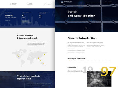 Industrial Steel Website timeline homepage web website ui  ux inuit minimalistic steel industry clean black