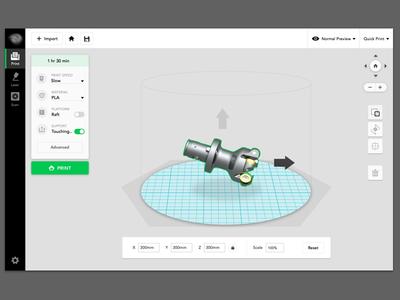 Web app for 3D printing dashboard tool simplicity minimal 3d printer web app ui