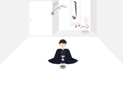 Tea ceremony illustration zen japanese culture tea matcha