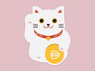 Lucky Cat crypto illustraion character cartoon cat