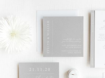 Grey and White Minimalist Wedding Invitation minimalist print design graphic design wedding invite wedding stationery