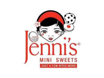 Jenni's Mini Sweets Logo vector art katsola digital illustration branding houtx kawaii logo custom illustration houston