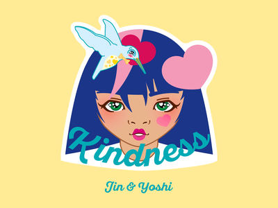 Kindness with Jin and Yoshi katsola houtx kawaii vector art digital art design digital illustration custom illustration houston