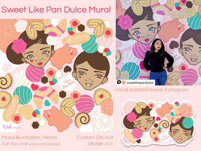 Sweet Like Pan Dulce Market Mural branding illustration digital illustration vector vector art kawaii houtx custom illustration katsola houston mural