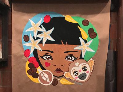 Saska & Taska at Blacksmith Coffee Houston, TX blacksmithcoffee houston mural handpainted gouache kawaii painting katsola coffee