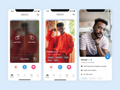 Dating App - Preview profile onboarding gesture preview super like blue white mobile app card like swipe dating dating app