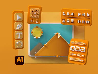 Adobe Illustrator 3D Interface c4d user interface ux ui render octane adobe illustrator cinema 4d 3d adobe