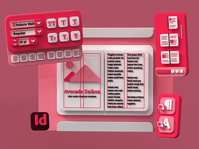 Adobe InDesign 3D Interface typography geometric ux user interface ui render octne cinema 4d c4d indesign adobe indesign adobe 3d