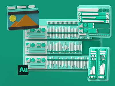 Adobe Autidion 3D Interface octane c4d 3d illustration 3d audition adobe ux ui user interface