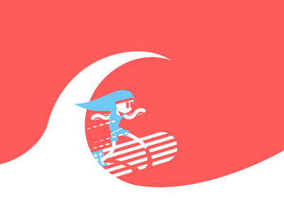 Surfin' USA surf illustration red vector flat geometric